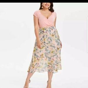 Dresses & Skirts - NEW plus chiffon pink tropical boutique wrap dress